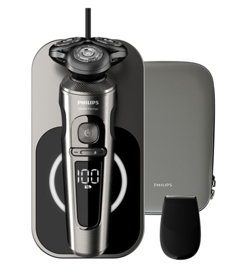 Philips Series 9000 Prestige Wet & Dry Electric Shaver Dark Chrome with Qi Charging Pad, SmartClick Trimmer - SP9860/13
