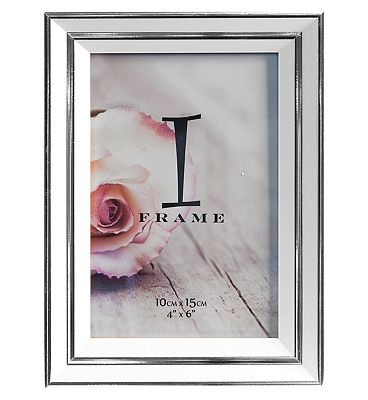 I-Frame White & Silver Photo Frame 4x6