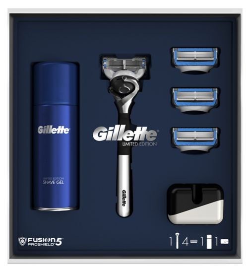 Gillette Fusion5 ProShield Limited Edition Chrome Razor + 3 Blades + Shave  Gel + Stand dd2f7b9ce68d7