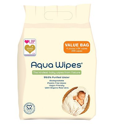 Aqua Wipes, 4 x 64 pack = 256 wipes