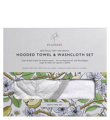 Storksak Hooded Towel and Wash Cloth Garden Print