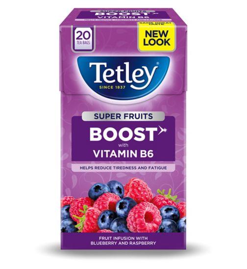 Tetley Super Fruits Boost Blueberry & Raspberry with Vitamin B6 - 20 Tea Bags