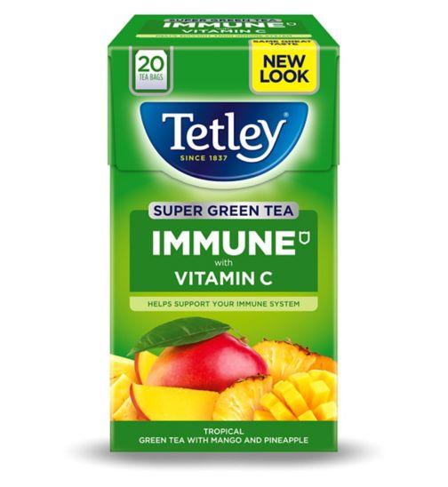 Tetley Super Green Tea Immune Tropical with Vitamin C - 20 Tea Bags