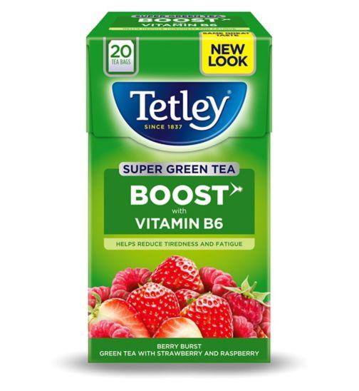 Tetley Super Green Tea Boost Berry Burst with Vitamin B6 - 20 Tea Bags