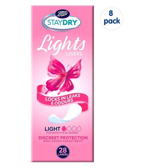 Boots Staydry Light Liners - 28 Liners;Staydry Light Liners - 224 Liners (8 Pack Bundle);Staydry Lights Liners 28s