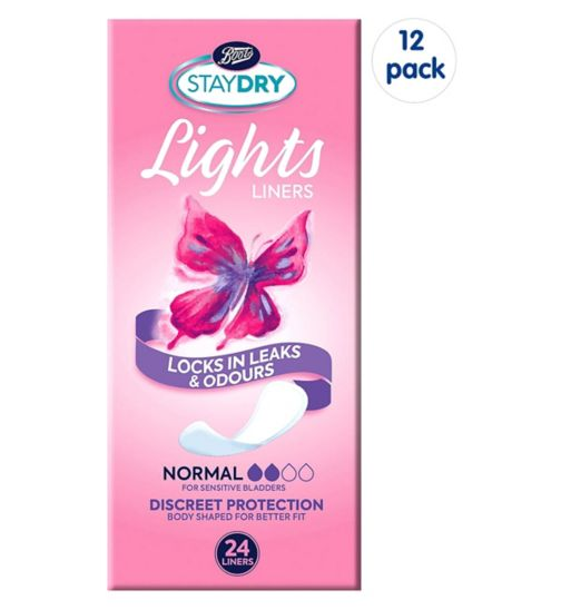 Boots Staydry Lights Normal Liners - 24 Liners;Staydry Lights Normal Liners 24s;Staydry Normal Liners -288 Liners (12 Pack Bundle)