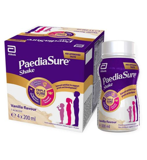 PaediaSure Shake Ready to Drink Nutritional Supplement with Multivitamins for Kids - Vanilla Flavour 4 x 200ml