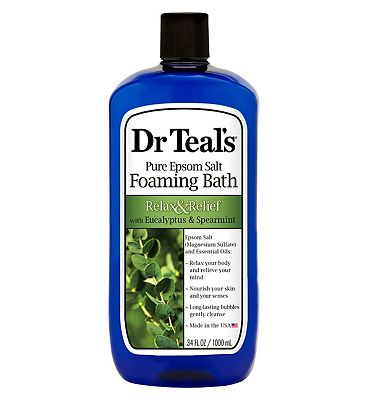 Dr Teal's Pure Epsom Salt Foaming Bath Relax & Relief with Eucalyptus & Spearmint 1L