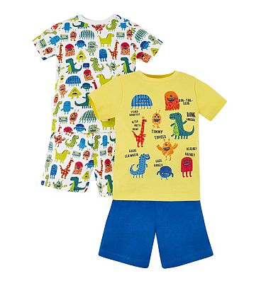 mini club 2 pack monster pyjamas