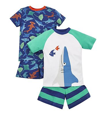 mini club 2 pack shark pyjamas
