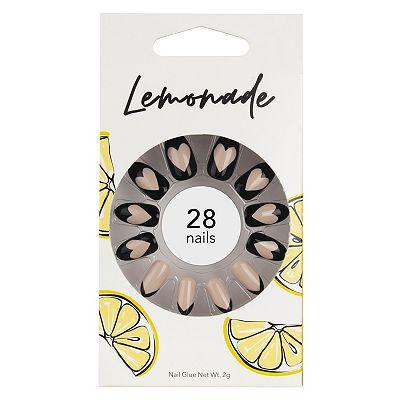 Lemonade Nails Stiletto Nude and Heart