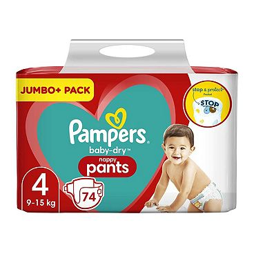 Baby-Dry Nappy Pants Size 4, 74 Nappies, 9kg-15kg, Jumbo+ Pack