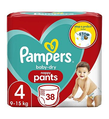 Baby-Dry Nappy Pants Size 4, 38 Nappy Pants, 9-15kg