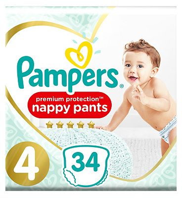 Premium Protection Size 4, 34 Nappy Pants, 9-15kg