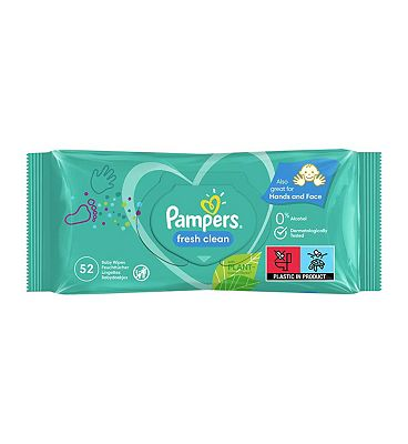 Pampers Fresh Clean Baby Wipes, single pack = 52 wipes