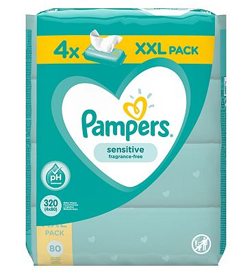 Sensitive Baby Wipes, 4 x 80 pack = 320 wipes