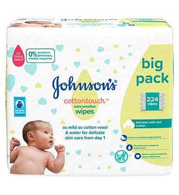 Cottontouch Extra Sensitive baby wipes, 4 x 56 pack = 224 wipes