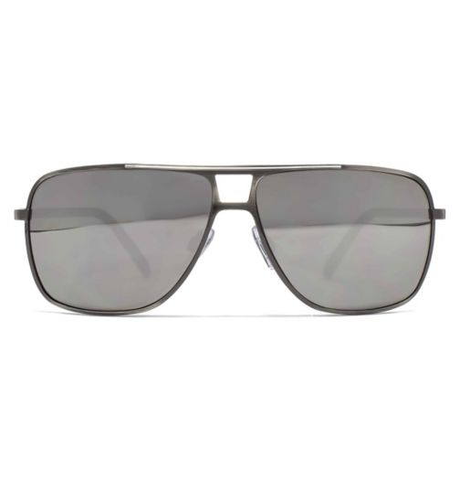 c94c620f9dcf French Connection Mens Sunglass Square Metal Aviator Brushed Gun White Brow  Bar 26French ConnectionU632
