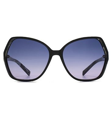 French Connection Premium Sunglass Oversized Glam In Black With Pearlised Inside Black W/Pearl 26French ConnectionA035