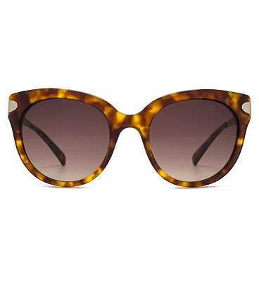 French Connection Premium Sunglass Oversized Round In Brown Tort W/Matt Pale Gold Temples Brown Tort 26French ConnectionA015