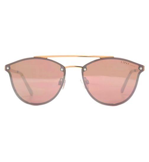 32d5e9e9b4 Lipsy Sunglasses Fashion Flat Top Shiny Rose Gold Q26LIP001-RGD