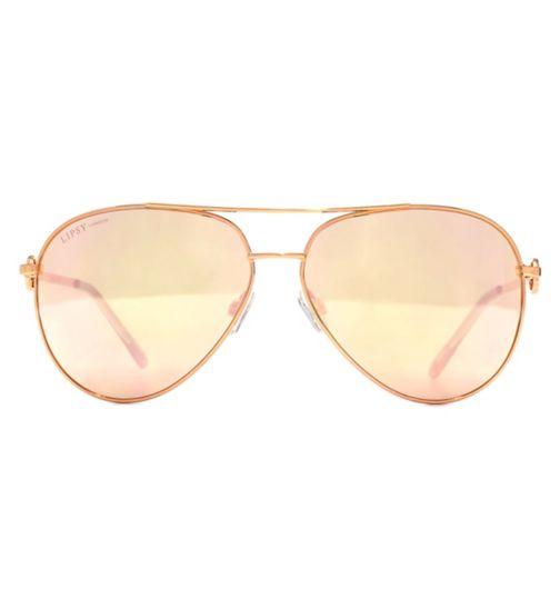 f23966743e Lipsy Sunglasses Double Bar D Frame Metal Shiny Rose Gold Q26LIP006-RGD