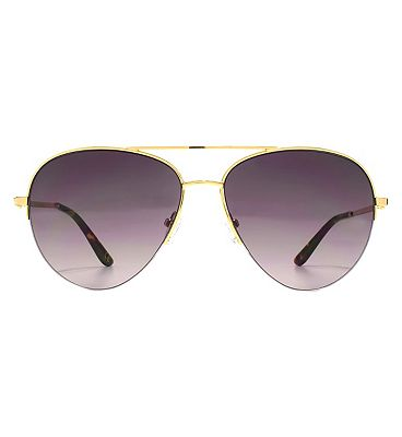 Whistles Sunglasses Metal Oversized D-Frame Ladies Gold 26WHS008-GLD