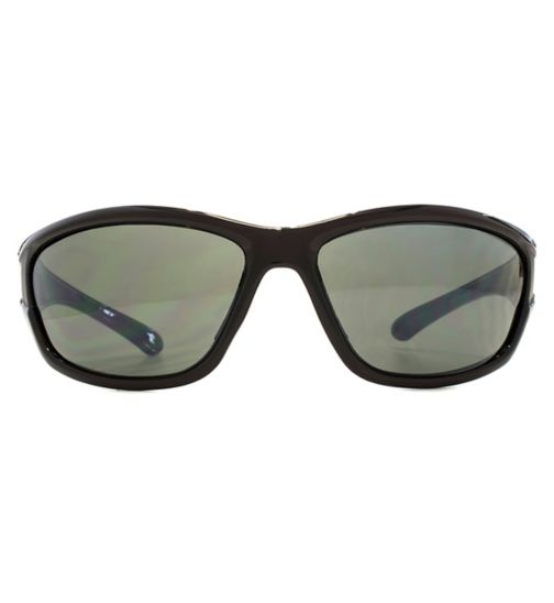 03a00659e1 Freedom Sunglasses Large Wrap Sunken Lug Detail Crystal Brown Cut Matt  Black Q26FRG145417