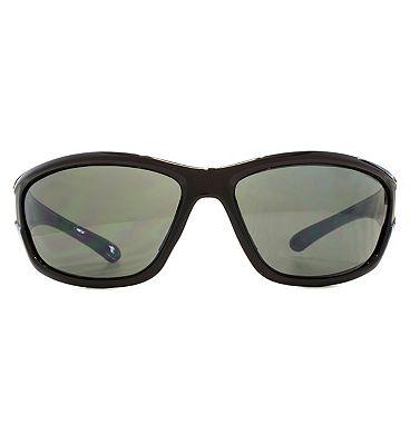 Freedom Sunglasses Large Wrap Sunken Lug Detail Crystal Brown Cut Matt Black Q26FRG145417