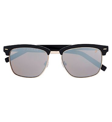 Farah Sunglasses - Deep Black and Gold / Silver Frame