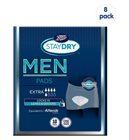 Boots Staydry Men Extra Pads - 10 Pads;Boots Staydry Men Extra Pads - 80 Pads (8 Pack Bundle);Boots Staydry Men's Extra - 10 Pads
