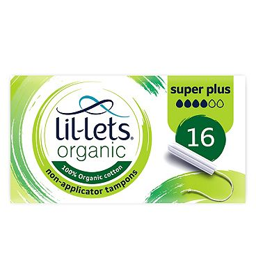 Lil-Lets Organic Non-Applicator Tampons Super Plus 16 pack