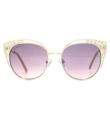 Lipsy Sunglass Light gold metal filigree cut out frame