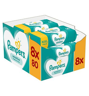 Sensitive Baby wipes, 8 x 80 packs = 640 wipes