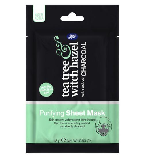 Boots Tea Tree & Witch Hazel Charcoal Purifying Sheet Mask 18g