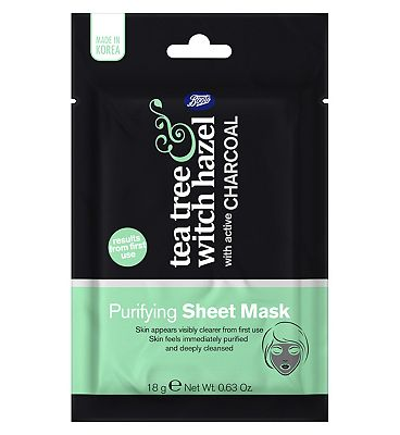 Boots Tea Tree & Witch Hazel Charcoal Purifying Sheet Mask 18g