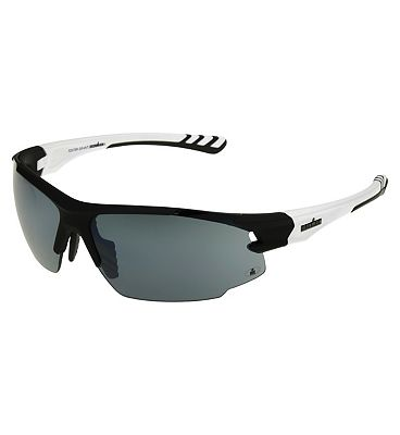 IRONMAN Sunglasses Rubberised black sports wrap with matte white temples