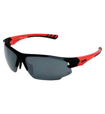 IRONMAN Sunglasses Rubberised black sports wrap with shiny neon red temples and smoke lens tint