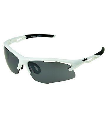 IRONMAN Sunglasses Matte White Sports Wrap with Smoke Lens Tint