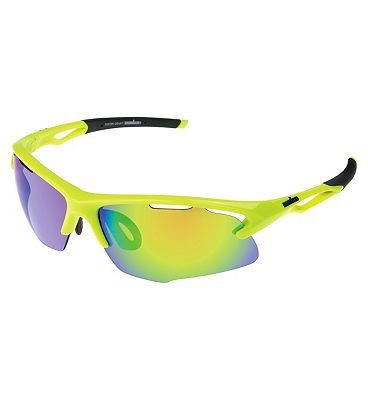 IRONMAN Sunglasses Neon Yellow Sports Wrap with Revo Lens Tint