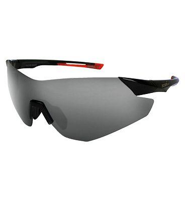 IRONMAN Sunglasses Shiny black Visor Sports Wrap with Smoke lens Tint
