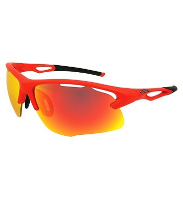 IRONMAN Sunglasses Matte Neon Red Sports Wrap with Revo lens Tint