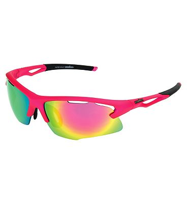 IRONMAN Sunglasses Matte Neon Pink Sports Wrap with Revo lens Tint