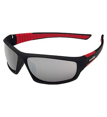 IRONMAN Sunglasses Rubberized Black and Red Sports Wrap with Grey Flash Mirror lens Tint