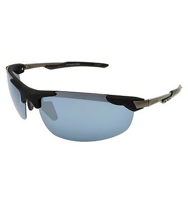 IRONMAN Sunglasses Rubberised black Metal Sports Wrap with dark Gun temples