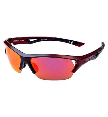 IRONMAN Sunglasses Shiny Metallic Red and black Sports Wrap with Revo Lens Tint