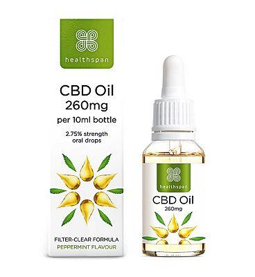 Healthspan High Strength CBD Oil 250mg Drops 2.75% - 10ml
