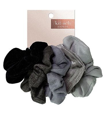 Kitsch Matte Scrunchie Black/Gray 5S