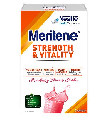 Meritene Strength & Vitality Strawberry Flavour Shake - 4 x 30g Sachets