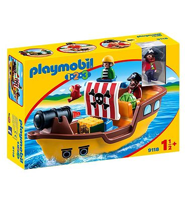 Playmobil 1.2.3 Floating Pirate Ship With Firing Water Cannon 9118
